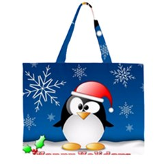 Happy Holidays Christmas Card With Penguin Large Tote Bag