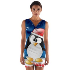 Happy Holidays Christmas Card With Penguin Wrap Front Bodycon Dress