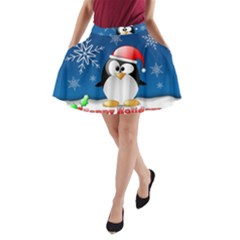 Happy Holidays Christmas Card With Penguin A Line Pocket Skirt