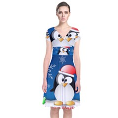 Happy Holidays Christmas Card With Penguin Short Sleeve Front Wrap Dress