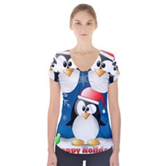 Happy Holidays Christmas Card With Penguin Short Sleeve Front Detail Top