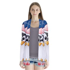 Happy Holidays Christmas Card With Penguin Cardigans