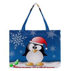 Happy Holidays Christmas Card With Penguin Medium Tote Bag