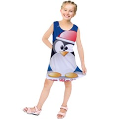 Happy Holidays Christmas Card With Penguin Kids  Tunic Dress