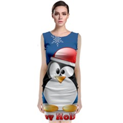 Happy Holidays Christmas Card With Penguin Sleeveless Velvet Midi Dress
