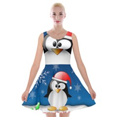 Happy Holidays Christmas Card With Penguin Velvet Skater Dress
