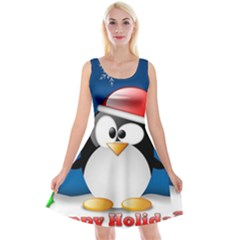 Happy Holidays Christmas Card With Penguin Reversible Velvet Sleeveless Dress