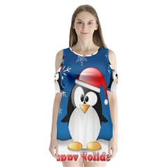 Happy Holidays Christmas Card With Penguin Shoulder Cutout Velvet  One Piece