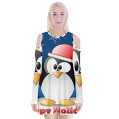 Happy Holidays Christmas Card With Penguin Velvet Long Sleeve Shoulder Cutout Dress