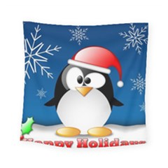 Happy Holidays Christmas Card With Penguin Square Tapestry (small)