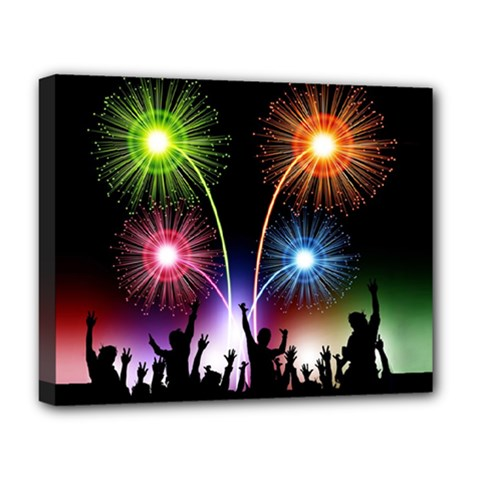 Happy New Year 2017 Celebration Animated 3d Deluxe Canvas 20  X 16