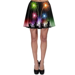 Happy New Year 2017 Celebration Animated 3d Skater Skirt