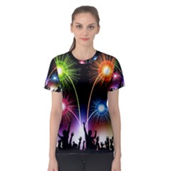 Happy New Year 2017 Celebration Animated 3d Women s Sport Mesh Tee