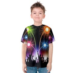 Happy New Year 2017 Celebration Animated 3d Kids  Cotton Tee