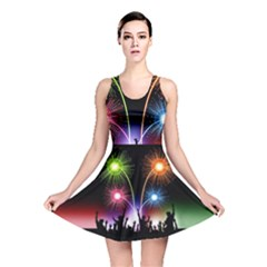 Happy New Year 2017 Celebration Animated 3d Reversible Skater Dress