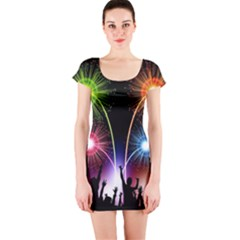 Happy New Year 2017 Celebration Animated 3d Short Sleeve Bodycon Dress