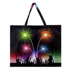 Happy New Year 2017 Celebration Animated 3d Zipper Large Tote Bag