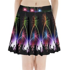Happy New Year 2017 Celebration Animated 3d Pleated Mini Skirt