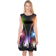 Happy New Year 2017 Celebration Animated 3d Capsleeve Midi Dress