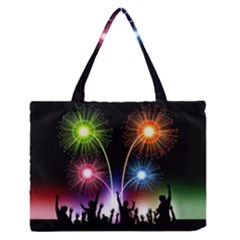 Happy New Year 2017 Celebration Animated 3d Medium Zipper Tote Bag