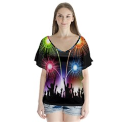 Happy New Year 2017 Celebration Animated 3d Flutter Sleeve Top