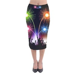 Happy New Year 2017 Celebration Animated 3d Velvet Midi Pencil Skirt