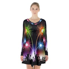 Happy New Year 2017 Celebration Animated 3d Long Sleeve Velvet V Neck Dress