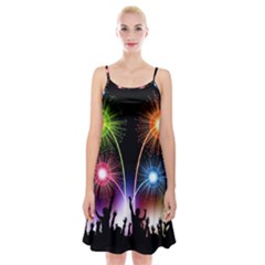 Happy New Year 2017 Celebration Animated 3d Spaghetti Strap Velvet Dress