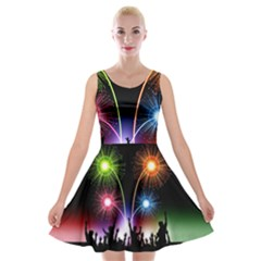 Happy New Year 2017 Celebration Animated 3d Velvet Skater Dress