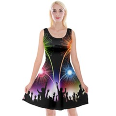 Happy New Year 2017 Celebration Animated 3d Reversible Velvet Sleeveless Dress