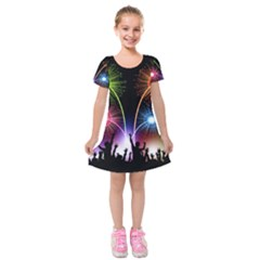 Happy New Year 2017 Celebration Animated 3d Kids  Short Sleeve Velvet Dress