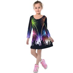 Happy New Year 2017 Celebration Animated 3d Kids  Long Sleeve Velvet Dress
