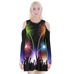 Happy New Year 2017 Celebration Animated 3d Velvet Long Sleeve Shoulder Cutout Dress