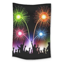 Happy New Year 2017 Celebration Animated 3d Large Tapestry