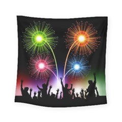 Happy New Year 2017 Celebration Animated 3d Square Tapestry (Small)
