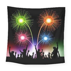 Happy New Year 2017 Celebration Animated 3d Square Tapestry (Large)