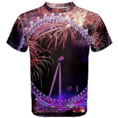 Happy New Year Clock Time Fireworks Pictures Men s Cotton Tee