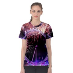 Happy New Year Clock Time Fireworks Pictures Women s Sport Mesh Tee