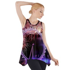 Happy New Year Clock Time Fireworks Pictures Side Drop Tank Tunic
