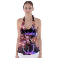 Happy New Year Clock Time Fireworks Pictures Babydoll Tankini Top