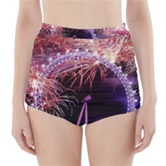 Happy New Year Clock Time Fireworks Pictures High-Waisted Bikini Bottoms