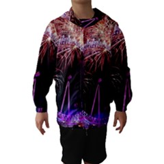 Happy New Year Clock Time Fireworks Pictures Hooded Wind Breaker (kids)