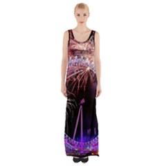 Happy New Year Clock Time Fireworks Pictures Maxi Thigh Split Dress