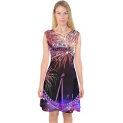 Happy New Year Clock Time Fireworks Pictures Capsleeve Midi Dress