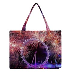 Happy New Year Clock Time Fireworks Pictures Medium Tote Bag