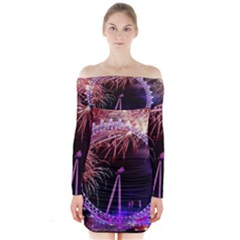 Happy New Year Clock Time Fireworks Pictures Long Sleeve Off Shoulder Dress