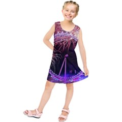 Happy New Year Clock Time Fireworks Pictures Kids  Tunic Dress