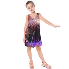 Happy New Year Clock Time Fireworks Pictures Kids  Sleeveless Dress