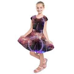 Happy New Year Clock Time Fireworks Pictures Kids  Short Sleeve Dress