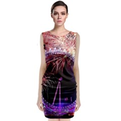 Happy New Year Clock Time Fireworks Pictures Sleeveless Velvet Midi Dress
